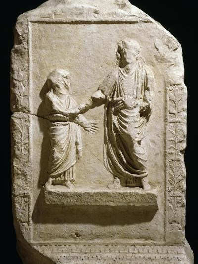 Bas-Relief on Side of Marble Base Dedicated to Providence of Trajan by Senate of Terracina--Giclee Print