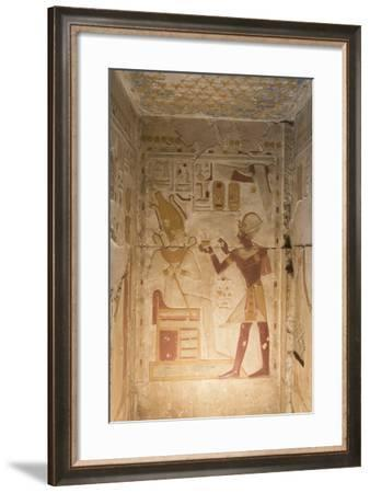 Bas-Relief, Pharaoh Seti I on Right, Temple of Seti I, Abydos, Egypt, North Africa, Africa-Richard Maschmeyer-Framed Photographic Print