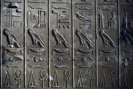 Bas-Relief with Hieroglyphic Reliefs Depicting God Horus in Form of Hawk and Ankh, Symbol of Life--Giclee Print