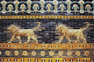 Bas-Reliefs of Two Lions Along Processional Way, Reconstruction in Pergamon Museum, Berlin, Germany