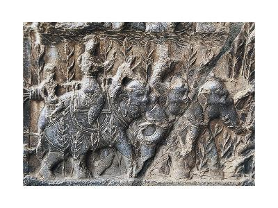 Bas-Reliefs with Hunting Scenes with Elephants, Caves of Taq-E Bustan, Iran, Sasanian Civilization--Giclee Print