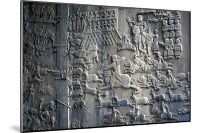Bas-Reliefs with Scenes of Deer and Wild Boar Hunting in Caves of Taq-E Bustan, Iran--Mounted Giclee Print
