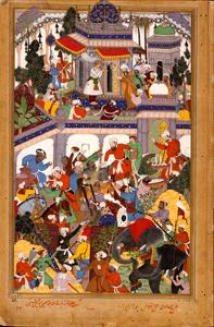 Akbar Visits the Shrine of Khwajah Mu'In Ad-Din Chishti at Ajmer, Ca 1590 by Basawan