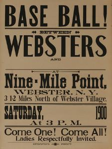 Base Ball Between Websters, 1900 Baseball Poster