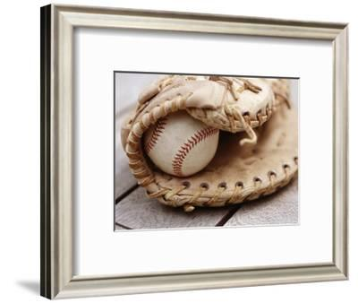 Baseball and Glove--Framed Photographic Print