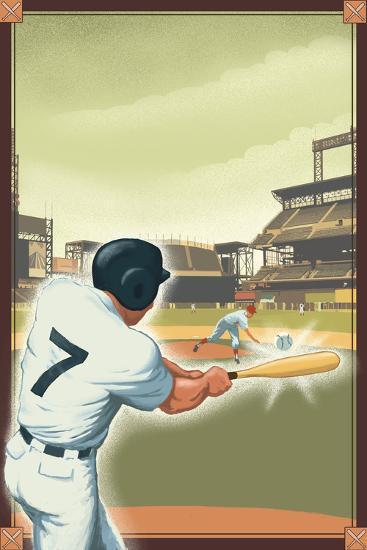 Baseball - Batter-Lantern Press-Art Print