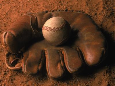Baseball Glove with Ball on Dirt-John T^ Wong-Photographic Print