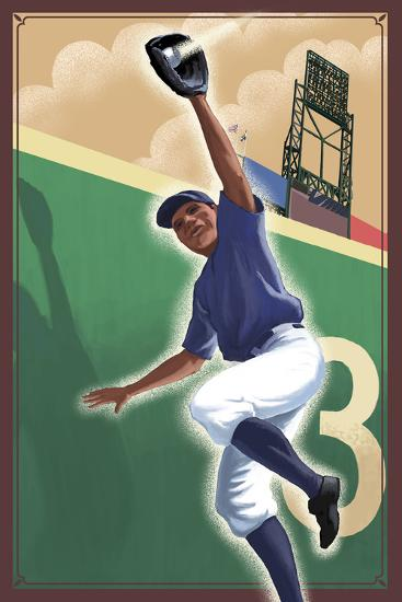 Baseball - Outfielder-Lantern Press-Art Print