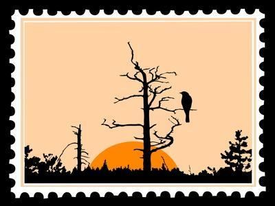 Silhouette Of The Bird On Tree On Postage Stamps