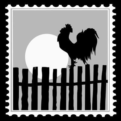 Silhouette Of The Cock On Postage Stamps