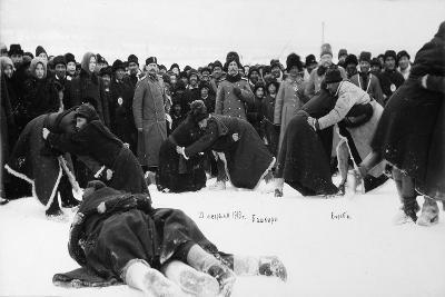Bashkirs Kuresh Wrestling, Russia, 1913--Giclee Print