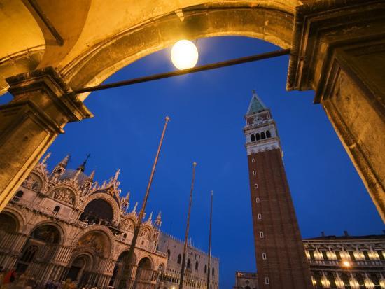 Basilica di San Marco and the Campanile, Venice, Italy-Krzysztof Dydynski-Photographic Print