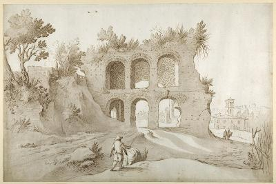 Basilica of Constantine. Entrance Wall in a Fantastic Setting (Pen and Ink with Wash on Paper)-Sebastian Vrancx-Giclee Print