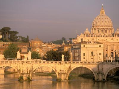 Basilica San Pietro and Ponte Sant Angelo, The Vatican, Rome, Italy-Walter Bibikow-Photographic Print
