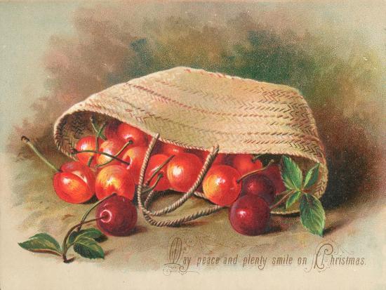 Basket of Cherries, Christmas Card--Giclee Print