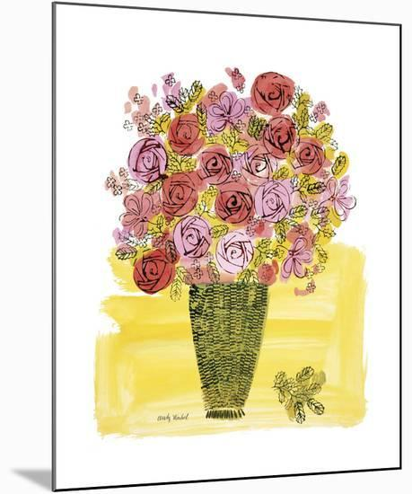 Basket of Flowers, c.1958-Andy Warhol-Mounted Giclee Print