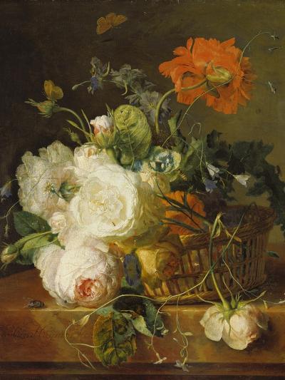 Basket of Flowers. (Undated)-Jan van Huysum-Giclee Print