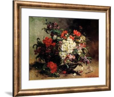 Basket of Flowers-Eugene Henri Cauchois-Framed Art Print
