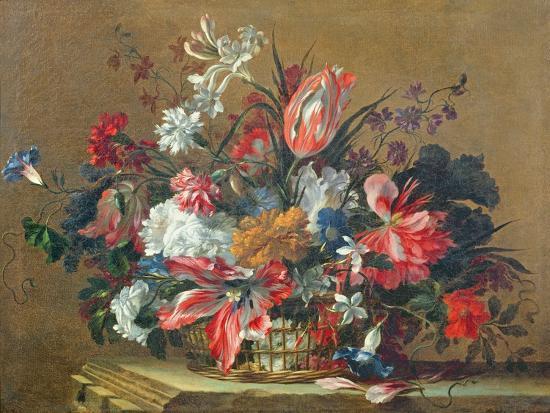 Basket of Flowers-Jean-Baptiste Monnoyer-Giclee Print