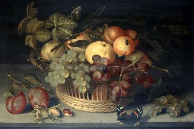 Basket of Fruit and Admiral Butterfly on Stone Table, 1610-Joannes Busschaert-Giclee Print