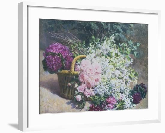 Basket of Romantic Flowers-Pierre Bourgogne-Framed Giclee Print