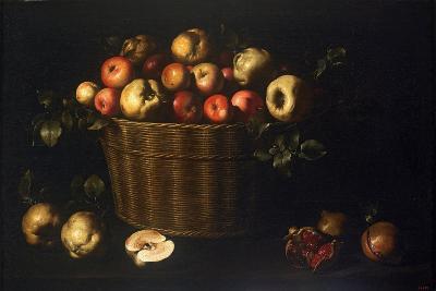 Basket with Apples, Quinces and Pomegranates-Juan de Zurbarán-Giclee Print