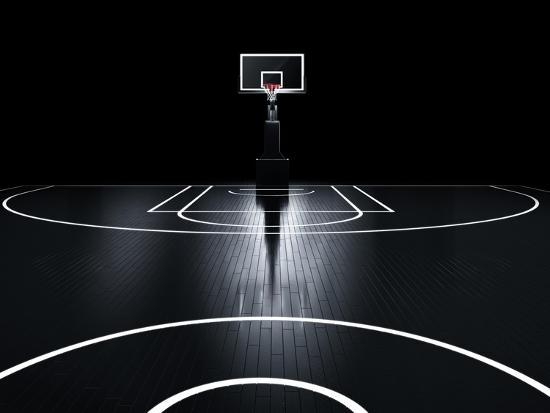 Basketball Court. Photorealistic 3D Illustration of a Sport Arena Background-Serg Klyosov-Art Print