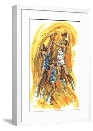 Basketball Game-Wayland Moore-Framed Serigraph
