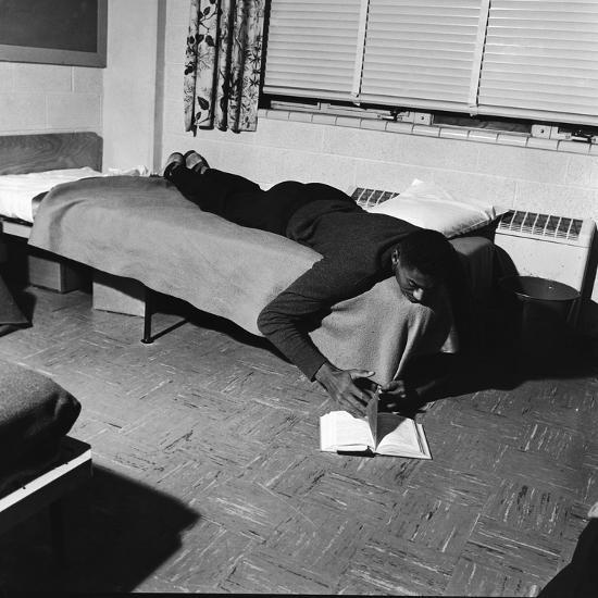 Basketball Great Wilt Chamberlain Relaxes with a Book, 1957-David W^ Jackson-Photographic Print
