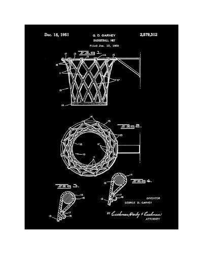 Basketball net, 1950-Black-Bill Cannon-Giclee Print
