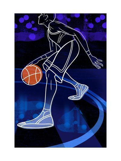 Basketball Player on Blue--Art Print