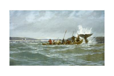 Basque Whalers Attempt to Tow a Wounded Whale Ashore to Newfoundland-Richard Schlecht-Giclee Print