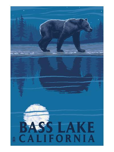 Bass Lake, California - Bear at Night-Lantern Press-Art Print