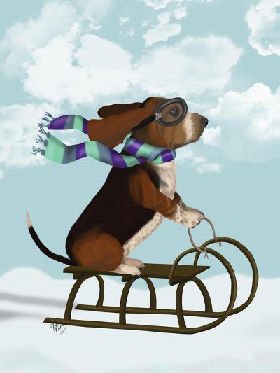Basset Hound, Sledging-Fab Funky-Art Print