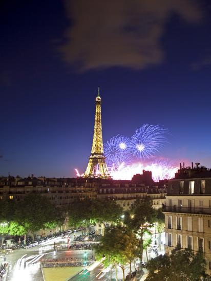 Bastille Day Fireworks, Eiffel Tower, Paris, France-Jon Arnold-Photographic Print