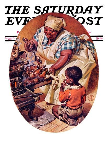 """Basting the Turkey,"" Saturday Evening Post Cover, November 28, 1936-Joseph Christian Leyendecker-Giclee Print"