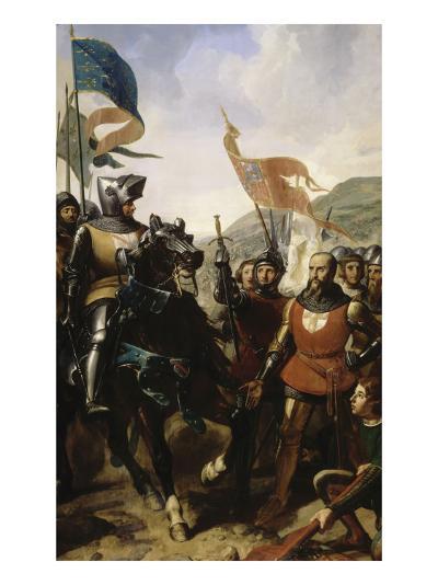 Bataille de Cocherel, prés d'Evreux gagnée par Du Guesclin sur les troupes du roi de Navarre, le-Charles Philippe Larivière-Giclee Print
