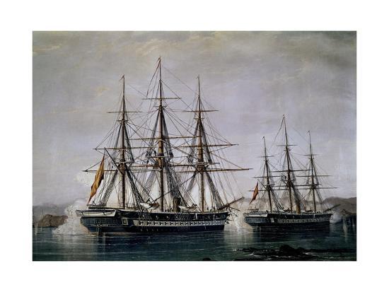 Museo Naval De Madrid.Batalla De Abtao El 7 De Febrero De 1866 Museo Naval Madrid Giclee