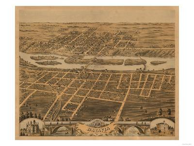 Batavia, Illinois - Panoramic Map-Lantern Press-Art Print