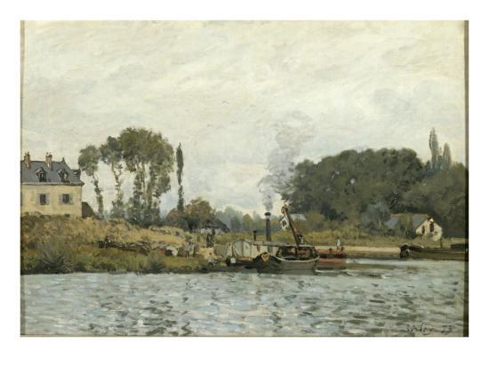 Bateaux à l'écluse de Bougival (Yvelines)-Alfred Sisley-Giclee Print