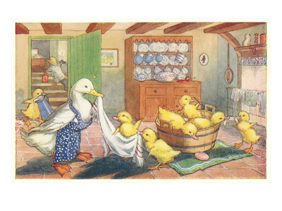 Bath Day for Ducklings--Art Print