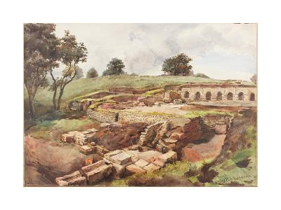 Bath House at Chesters from the North East (Bodycolour, Pencil and W/C on Paper)-Charles Richardson-Giclee Print