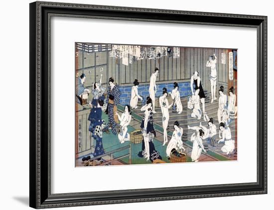 Bath House Scene, a Print by Toyohara Kunichika, 19th Century-Toyohara Kunichika-Framed Premium Giclee Print