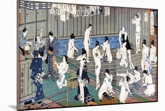 Bath House Scene, a Print by Toyohara Kunichika, 19th Century-Toyohara Kunichika-Mounted Premium Giclee Print
