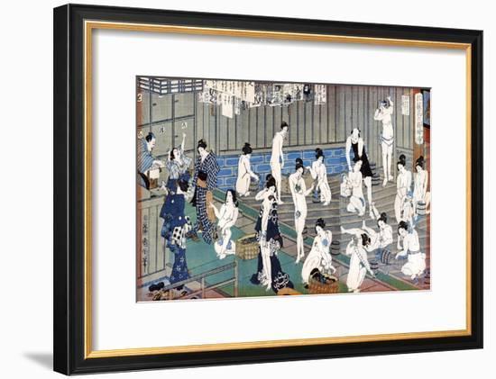 Bath House Scene, a Print by Toyohara Kunichika, 19th Century-Toyohara Kunichika-Framed Giclee Print