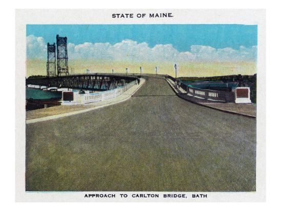 Bath, Maine, View of the Carlton Bridge Approach-Lantern Press-Art Print