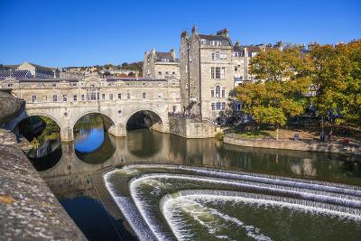 Bath Weir and Pulteney Bridge on the River Avon, Bath, Somerset, England, United Kingdom-Billy Stock-Photographic Print