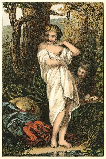 Bather and Voyeur--Art Print
