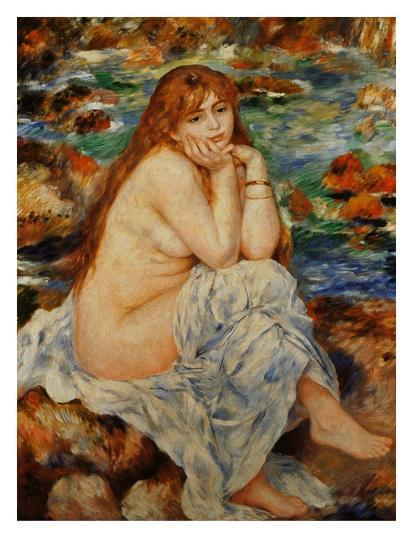 Bather Seated on a Sand Bank-Pierre-Auguste Renoir-Giclee Print
