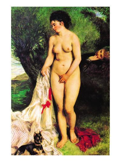 Bather with a Terrier-Pierre-Auguste Renoir-Art Print